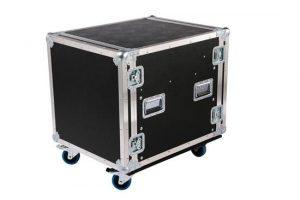 9HE Profi Shockmount Rack in schwarz auf Rollen mit einer Einbautiefe von 650mm
