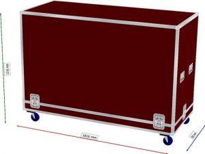 Haubencase mit 9mm Boden Maße 185x77x115cm BxTxH mit Rollen und Flachecken