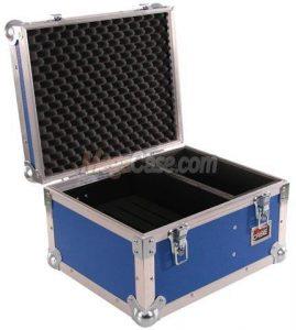 Koffer-Case blau mit Inlay für 5 x ipad Air + Zubehörfach Schnappschlösser