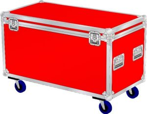 Truhencase Profi mit den Innenmaßen 100x50x50cm BxTxH in rot auf Rollen