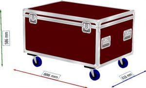Truhenflightcase für Säge 87x60x42xcm BxTxH mit Rollen (2xgebremst)