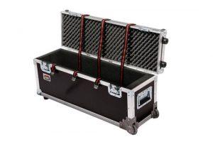 Truhenflightcase mit Eckrollen  für Zubehör Innenmaße 75x20x25cm BxTxH